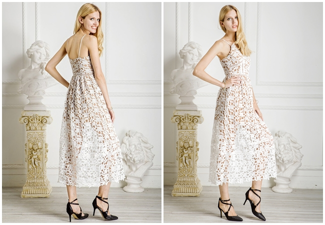 Self-Portrait 2015 SS Azaelea Floral-Lace Mid-Length Dress