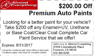 Discount Coupon $200 Off Premium Auto Paint Sale August 2017