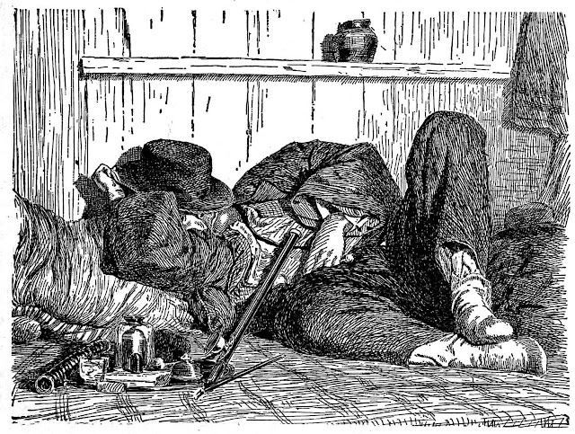 Illustration of a 1898 opium den client