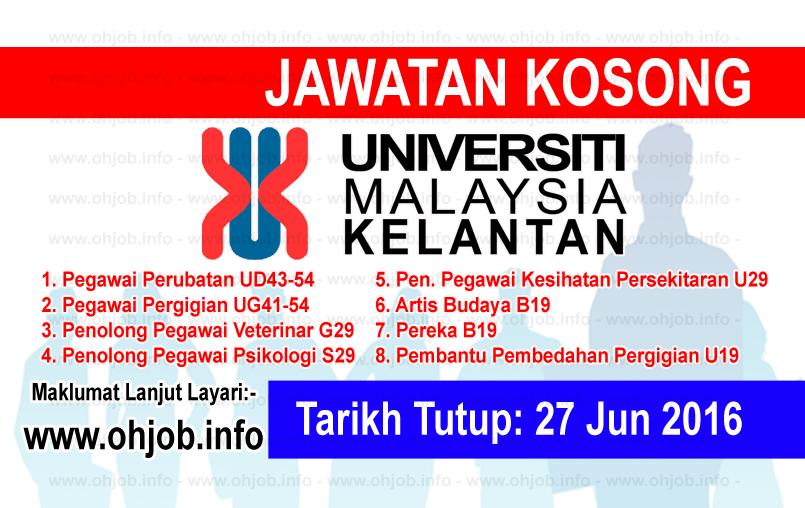 Jawatan Kerja Kosong Universiti Malaysia Kelantan (UMK) logo www.ohjob.info jun 2016