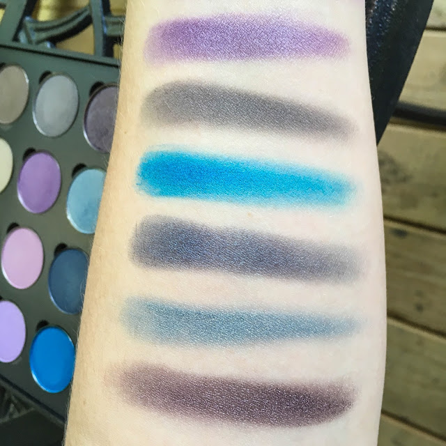 coastal scents shadow pots hot pots 2017 perfect plum ash grey brandeis blue tanzanite gypsy blue elven midnight swatch swatched swatches