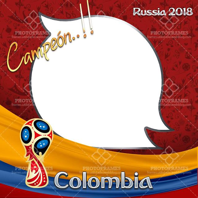 Bello marco para fotos del mundial de fútbol Rusia 2018 versión Colombia
