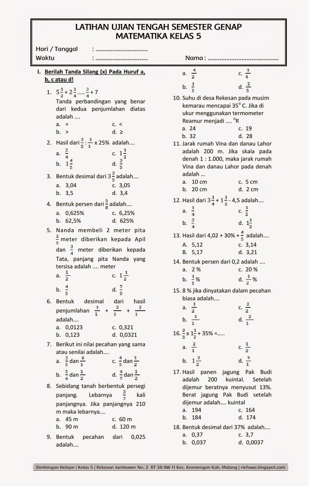 Soal Uts Matematika Kelas 5 Semester 1 Dan Kunci Jawabannya : matematika, kelas, semester, kunci, jawabannya, Contoh, Matematika, Kelas, Semester, Dapatkan