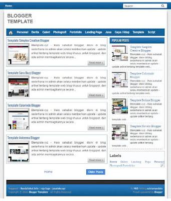 Dijual Blog Niche ABADI Template Blogger Murah