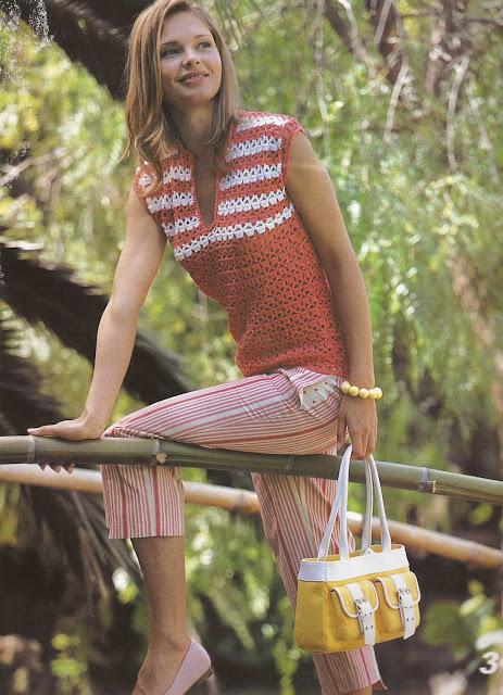 Patrón #795:Blusa Roja a Crochet