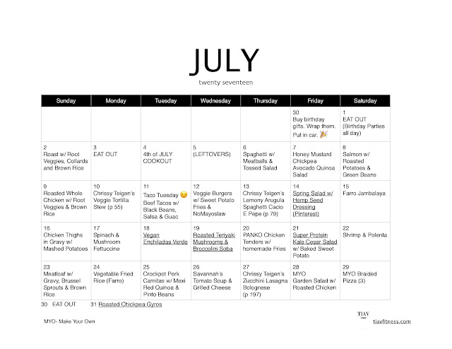 monthly meal plan July