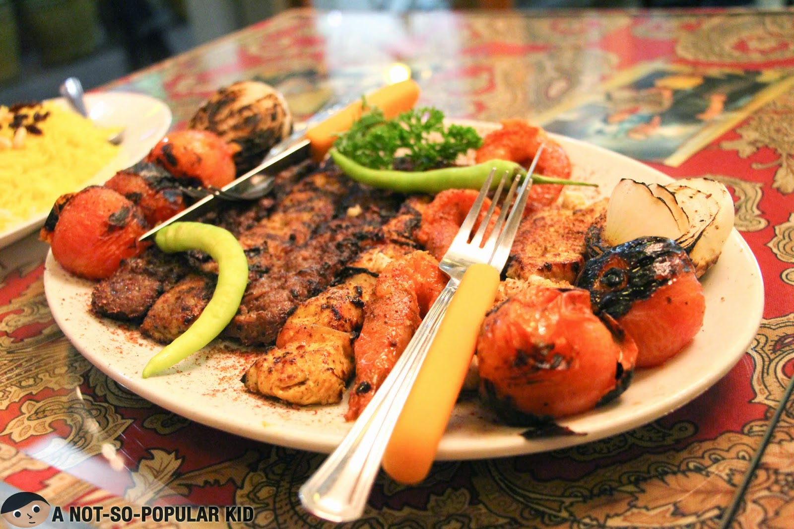 The Arya Sini Kamel - collection of fine kebabs of Arya Persia Restaurant
