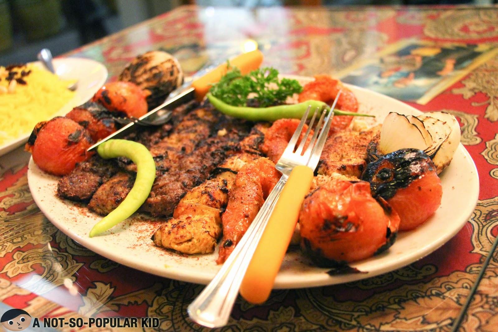 The Arya Sini Kamel - collection of fine kebabs of Arya Persia Restaurant