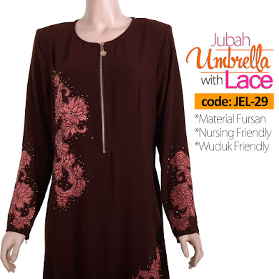 Jubah Umbrella Lace JEL-29 Brown Depan 6
