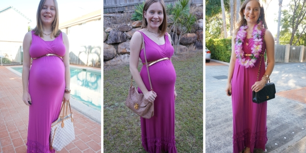 3 ways to wear pink maxi dress and gold glitter belt | awayfromtheblue