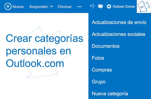 Crear categorías personales en Outlook.com
