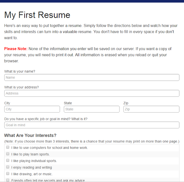 part of the online resume form data input is not saved on the companys server