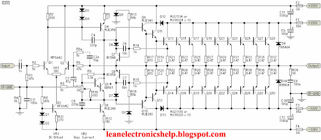 1500 Watt amplifier circuit diagram also