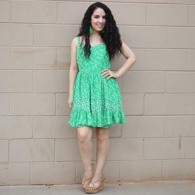 Green Floral Spring Dress