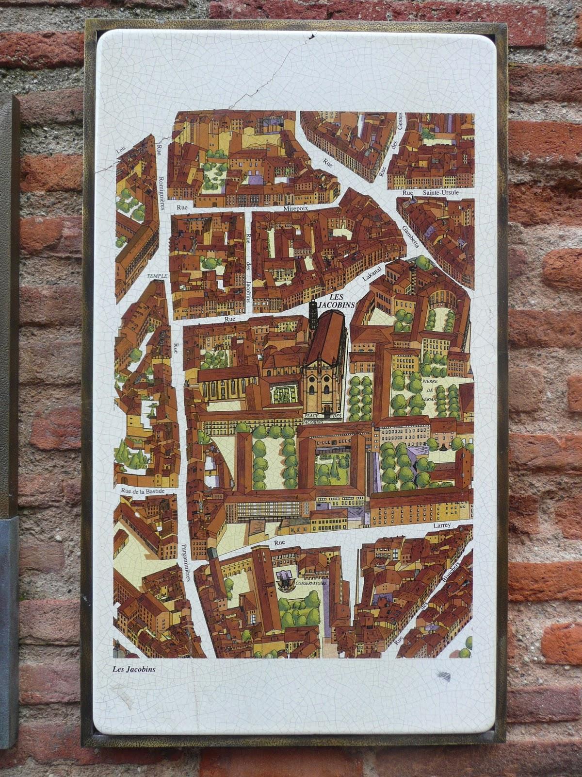 Mapa explicativo del centro urbano de Toulouse