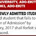 EKSU 2016-17 Payment Of Acceptance Fee Deadline Notice For [Freshers]