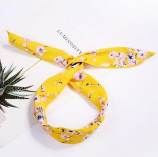 elastic hairband, traka za kosu, rajf, floral, cvjetni uzorak, yellow, žuta, summer, spring, proljeće, ljeto, modni dodaci, accessories