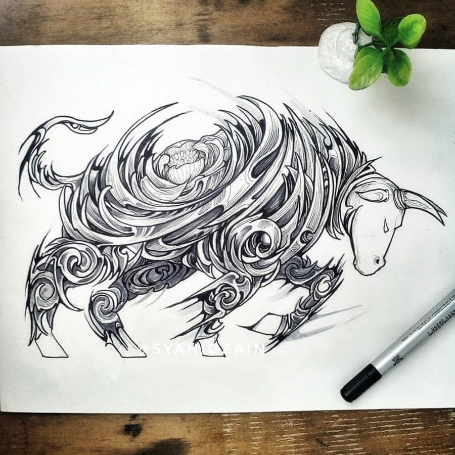 03-Bull-Animal-Drawings-Syahid Zain-www-designstack-co