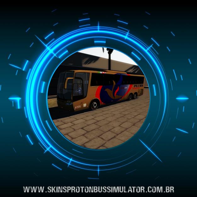 Skin Proton Bus Simulator Road - Vissta Buss HI O-500 RSD Viação Pluma Internacional