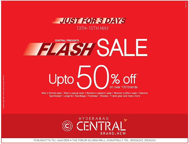 Central Flash Sale up to 50% off | May 2016 discount offer