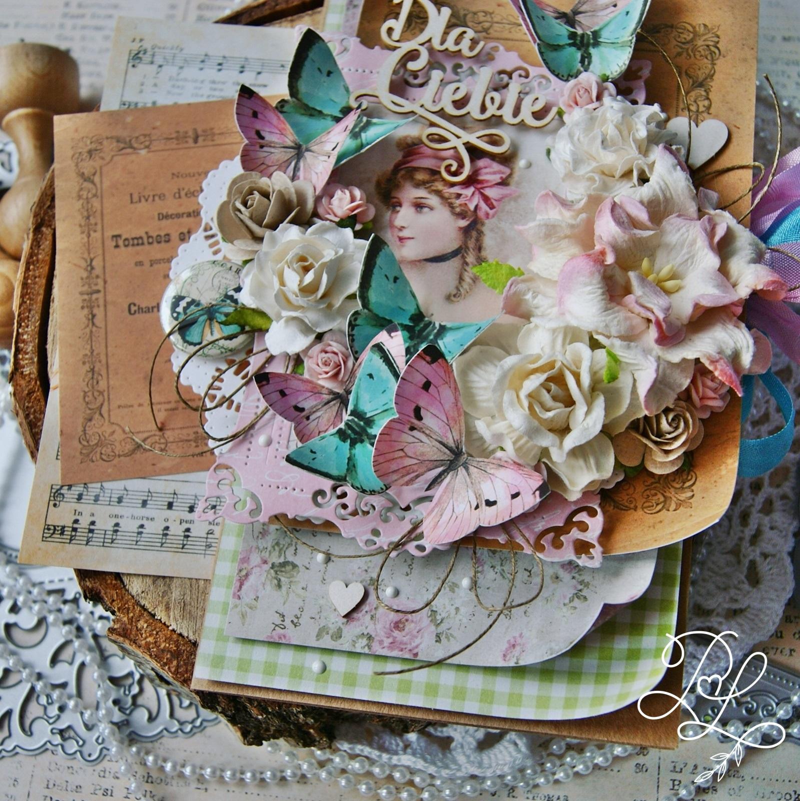 Wyjątkowa, warstwowa, kobieca, dziewczęca kartka urodzinowa - Papierowe Love - sklep papierniczy i pracownia rękodzieła Katarzyna Rajczakowska.