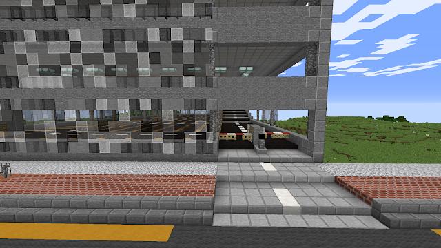 In Minecraft: de ingang van een parkeergarage