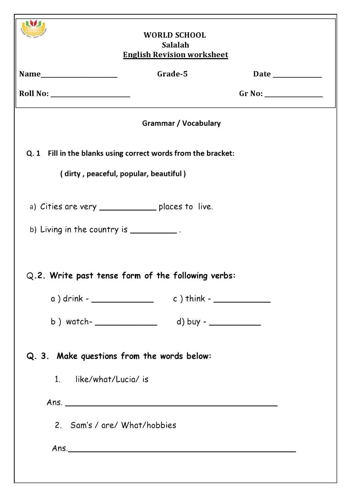Revision worksheets for grade 5