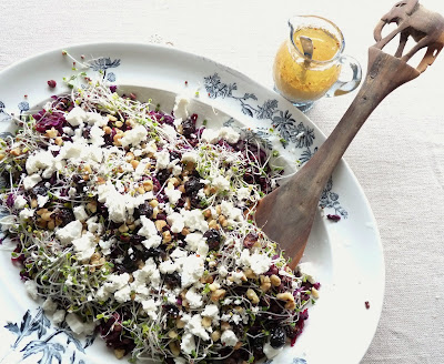 Beet, Lentil, Red Cabbage & Sprout Salad with Feta, Walnuts & Cranberries