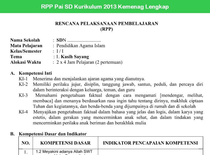 RPP Pai SD Kurikulum 2013 Kemenag Lengkap