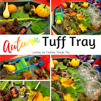 Autumn Tuff Tray. Autumn Crafts for Preschoolers.