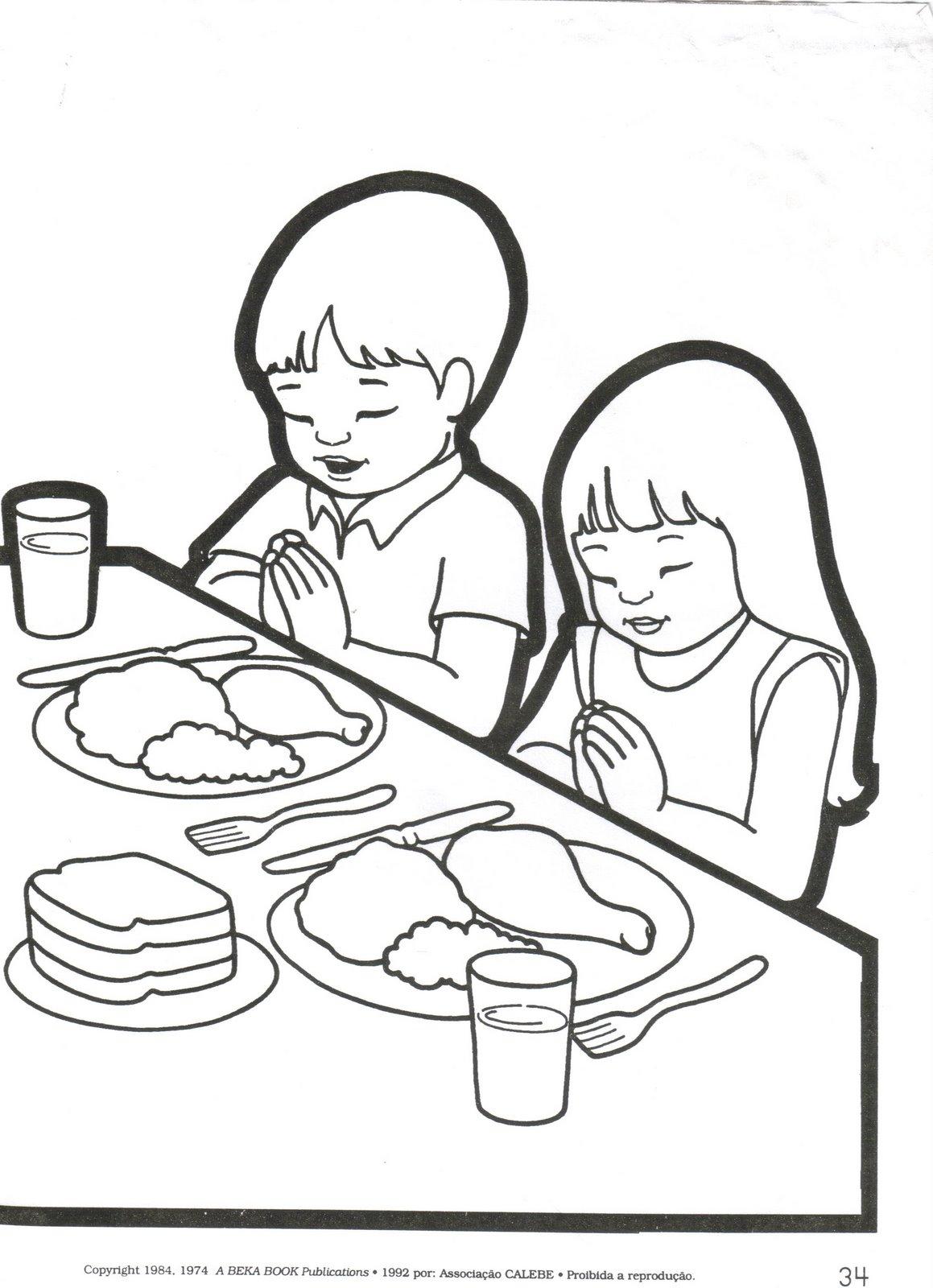 Dibujos Cristianos Para Colorear Oracion Por Los Alimentos Para