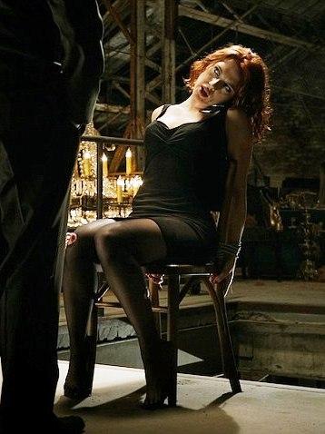 Scarlett Johansson as Black Widow interrogated in a scene from The Avengers