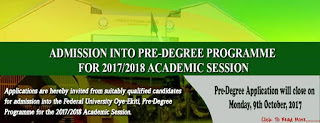 2018/2019 FUOYE Pre-degree Admission Form Announced Online