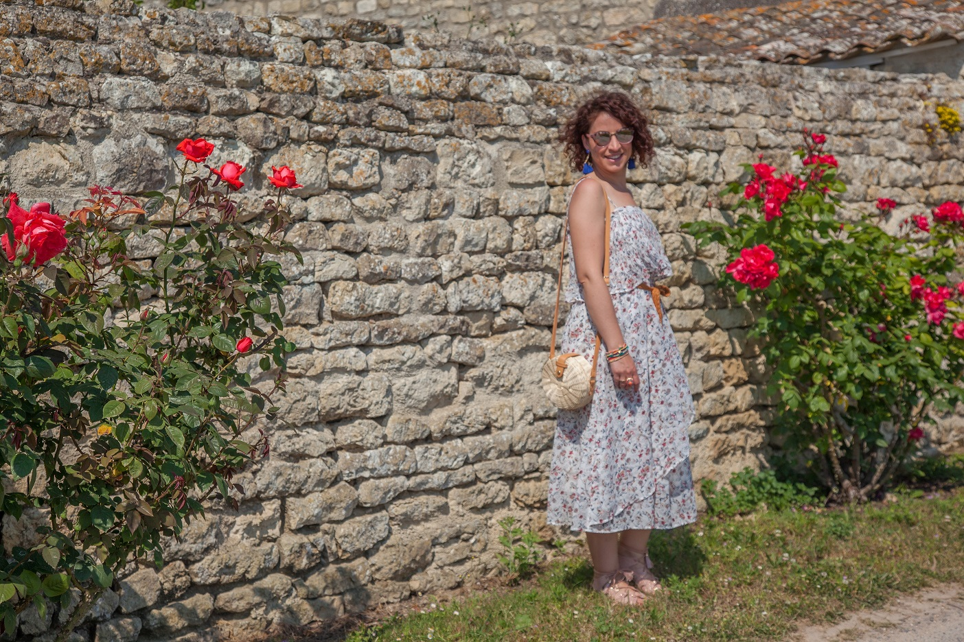 look - robe - longue - imprime - fleuri