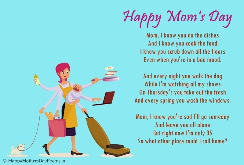Funny mothers day poems from kids daughter son and toddler for Short poems for daughters from mothers