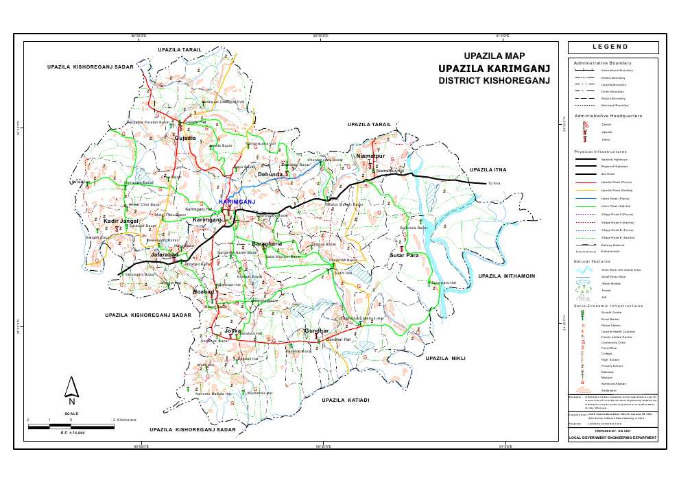 Karimganj Upazila Map Kishoreganj District Bangladesh