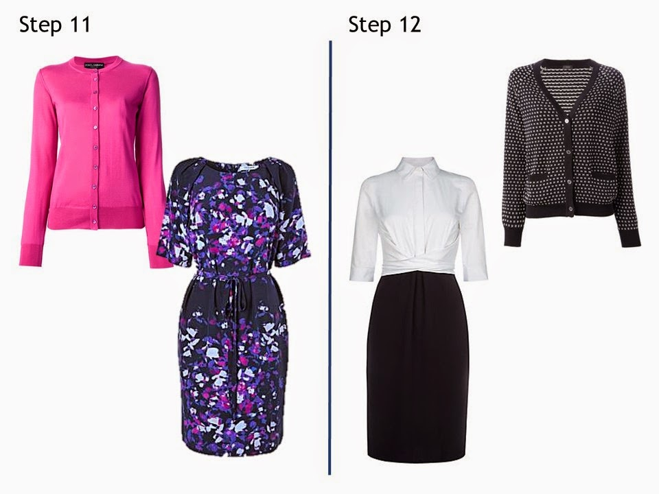 Steps 11 and 12, Starting From Scratch Summer work wardrobe Navy and White