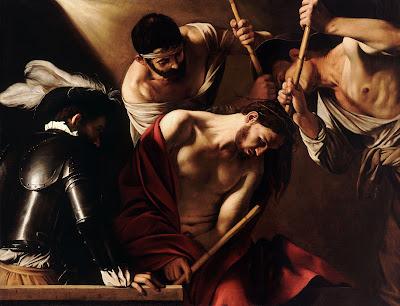 Imagem de Jesus com a coroa de espinhos, o manto e a vara, pintura, #1