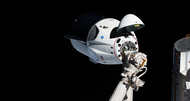 The uncrewed SpaceX Crew Dragon spacecraft on approach to the station's Harmony module. Credit: NASA