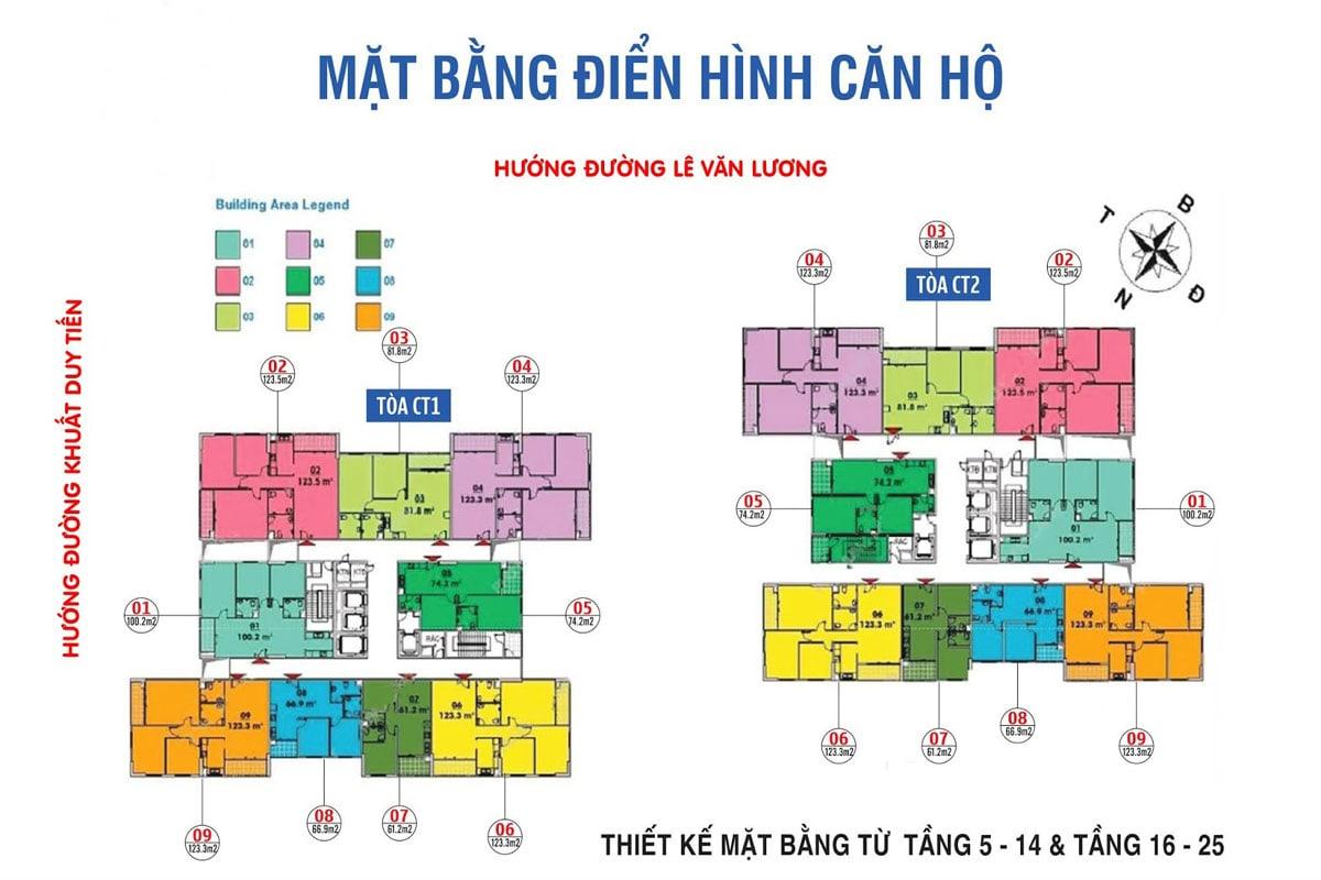 Mặt bằng tầng 5-14, 16-25 dự án Ban Cơ Yếu Chính Phủ Lê Văn Lương