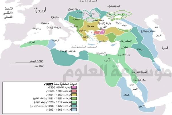 ألون مراحل توسع الدولة العثمانية مميزا كل مرحلة بلون .