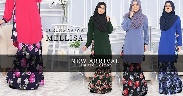 Sweet Muslimah Kurung Najwa Mellisa Moden Cantik Menarik Selesa