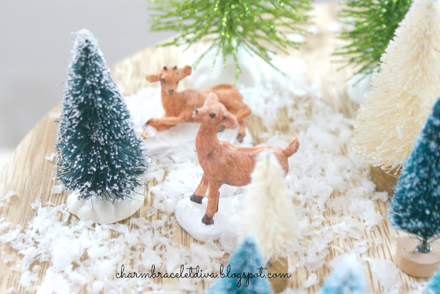 Vintage-inspired Mini Christmas Tree Farm reindeer bottle brush trees