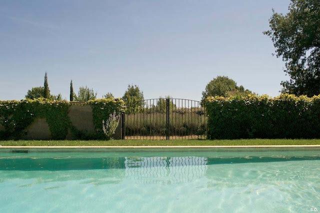 Schwimmbad, Eisentor, blühender Lavendel