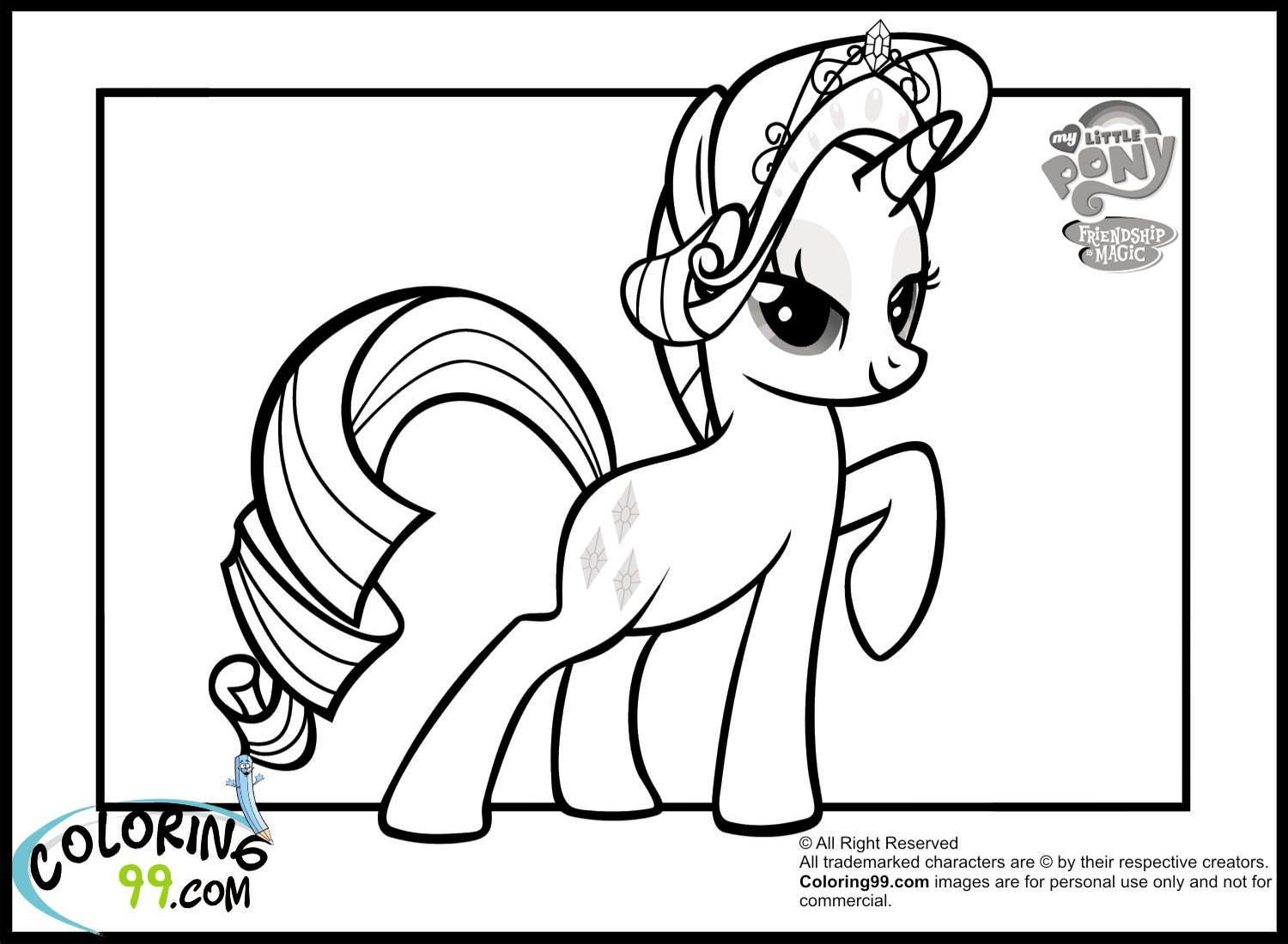 my little pony friendship is magic coloring pages online - my little pony rarity coloring pages team colors
