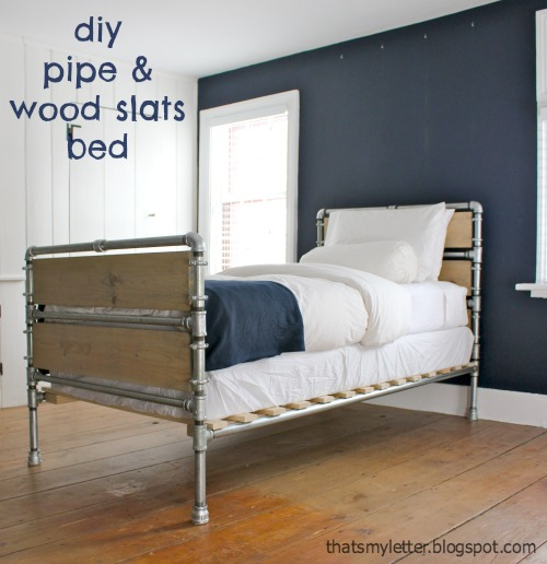 diy wood slats and pipe bed