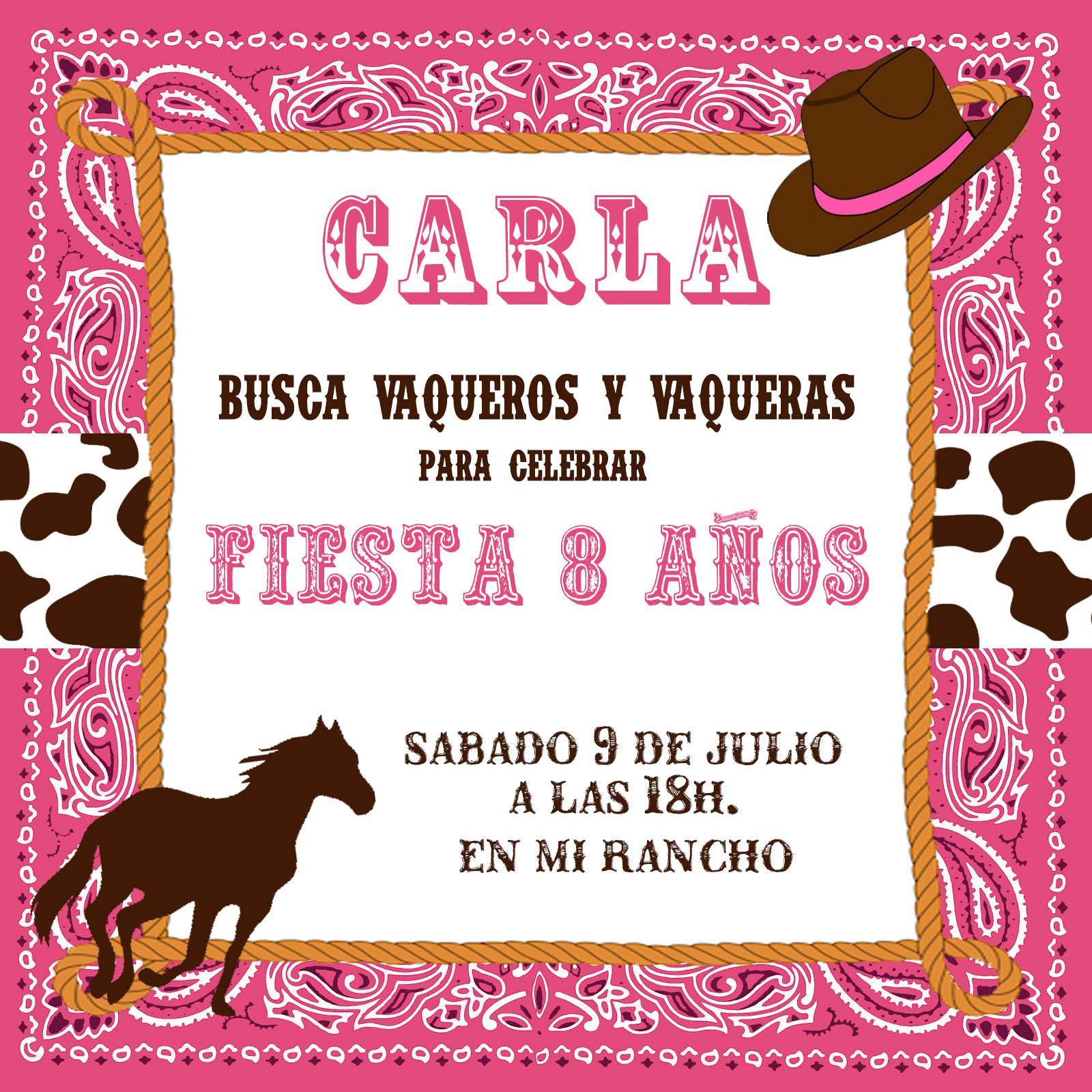 Mardefiesta: Fiesta vaquera-invitacion y preparativos