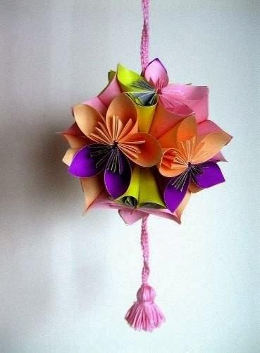 шарик-подвеска в технике оригами