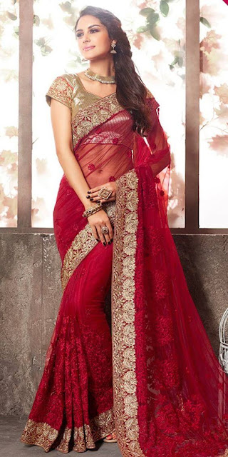 Beautiful Indian Model Girl In Lavish Red Net Saree With Blouse.