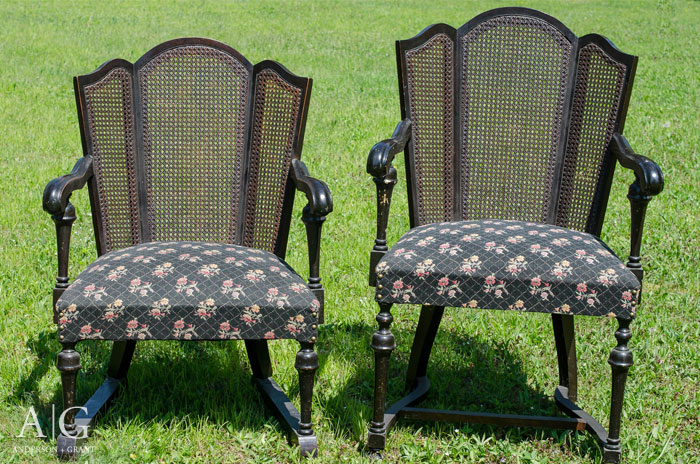 Vintage Cane Back Chairs from a garage sale. - Vintage Cane Back Chair Gets A Farmhouse Style Makeover Anderson +